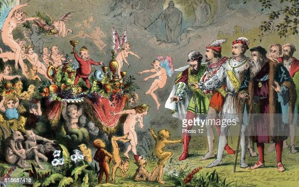 Alonso King of Naples shipwrecked with his court on Prospero's enchanted island amazed by the fairies goblins and strange creatures preparing a...