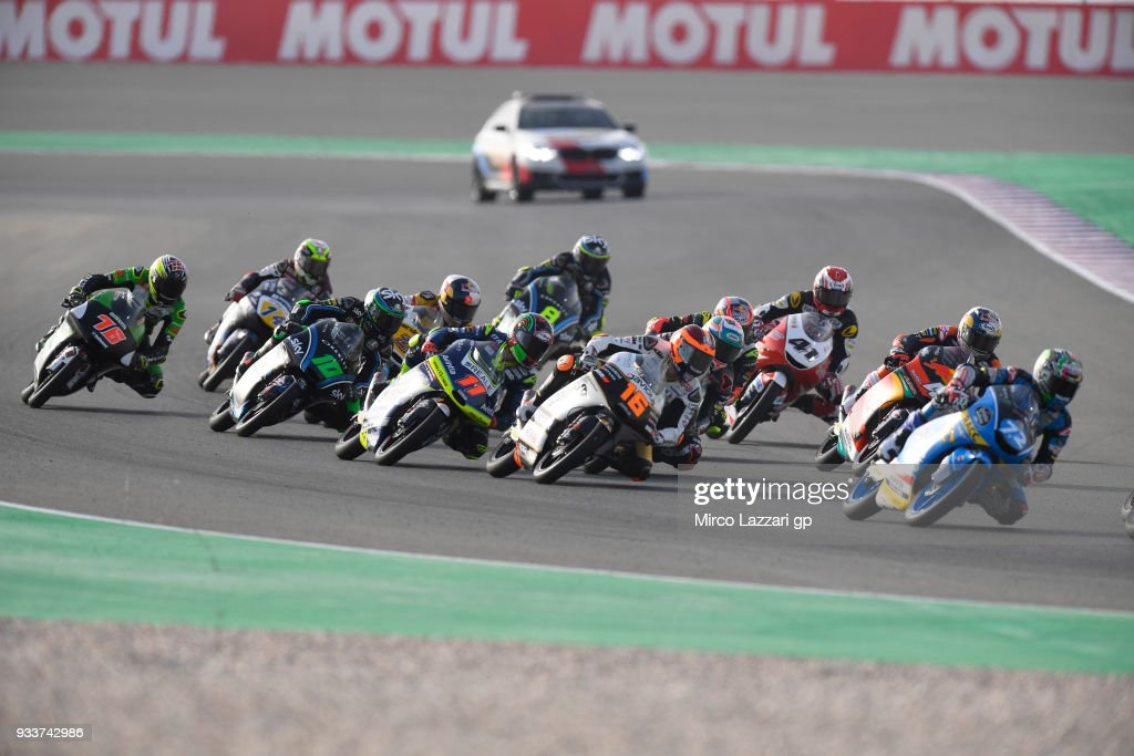 Alonso Lopez of Spain and Estrella Galicia 0,0 Honda leads the field during the Moto3 race during the MotoGP of Qatar - Race at Losail Circuit on March 18, 2018 in Doha, Qatar.