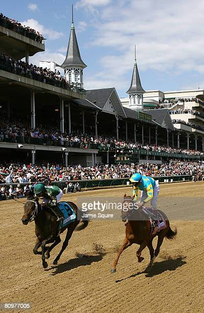 Alonso Quinonez, riding Intangaroo, edges out John Velazquez, riding Baroness Thatcher to win the 22nd running of The Humana Distaff prior to the...