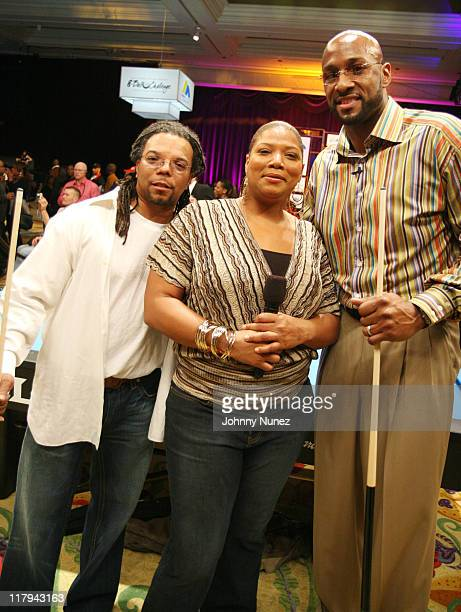 Alonzo Adams Queen Latifah and Alonzo Mourning during Boost Mobile's Zo and Magic Johnson 8Ball Challenge Celebrity Pool Tournament at Wynn Las Vegas...