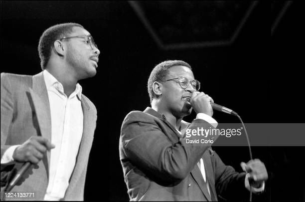 Alonzo Brown and Andre Harrell of Dr Jekyll and Mr Hyde performing at UK Fresh at Wembley Arena London UK 19 July 1986
