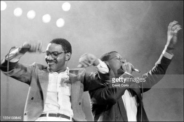 Alonzo Brown and Andre Harrell of Dr Jekyll and Mr Hyde performing at UK Fresh at Wembley Arena, London, UK 19 July 1986