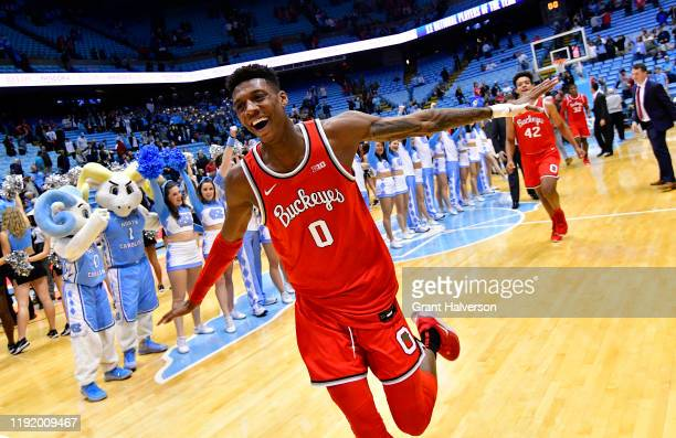 Alonzo Gaffney of the Ohio State Buckeyes celebrates as he leaves the floor after a win against the North Carolina Tar Heels at the Dean Smith Center...