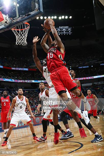 Alonzo Gee of the New Orleans Pelicans shoots the ball against the Toronto Raptors on March 26 2016 at Smoothie King Center in New Orleans Louisiana...