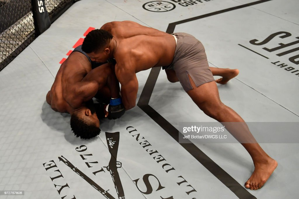 Alonzo Menifield punches Dashawn Boatwright in their light heavyweight bout during Dana White's Tuesday Night Contender Series at the TUF Gym on June 12, 2018 in Las Vegas, Nevada.