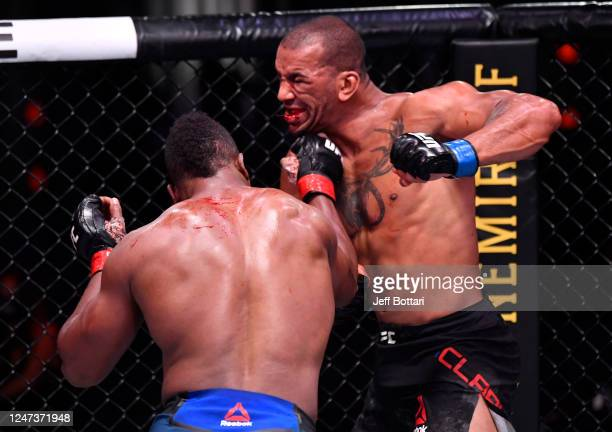 Alonzo Menifield punches Devin Clark in their light heavyweight bout during the UFC 250 event at UFC APEX on June 06 2020 in Las Vegas Nevada