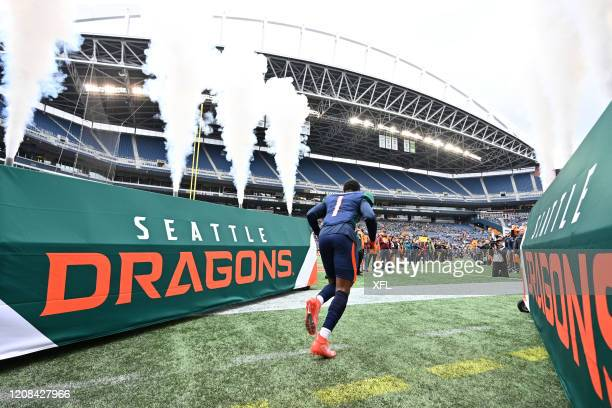 Alonzo Moore of the Seattle Dragons runs on to the field before the XFL game against the Dallas Renegades at CenturyLink Field on February 22, 2020...
