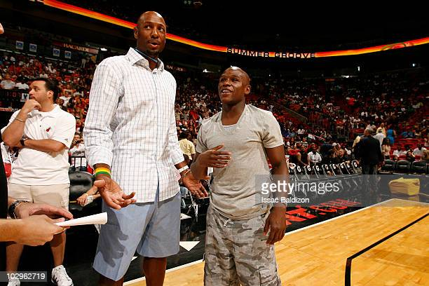 Alonzo Mourning and Boxer Floyd Mayweather participate in the Summer Groove AllStar Basketball Game on July 18 2010 at American Airlines Arena in...