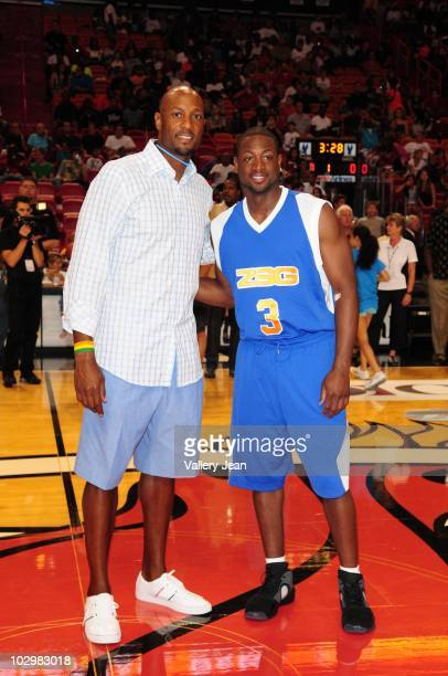 Alonzo Mourning and Dwyane Wade attends Summer Groove AllStar Basketball Game at AmericanAirlines Arena on July 18 2010 in Miami Florida