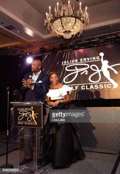 Alonzo Mourning and Jazmin Erving welcome Julius Erving onstage and speak about Julius Erving Golf Classic Charity Event during the Erving Golf...
