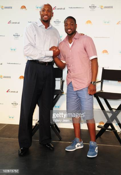 Alonzo Mourning and Miami HEAT AllStar Dwyane Wade attends the Summer Groove media update at the Overtown Youth Center on July 13 2010 in Miami...