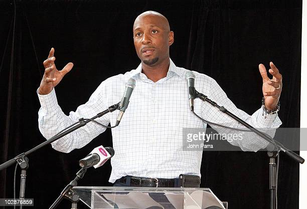 Alonzo Mourning attends the Summer Groove media update at the Overtown Youth Center on July 13 2010 in Miami Florida