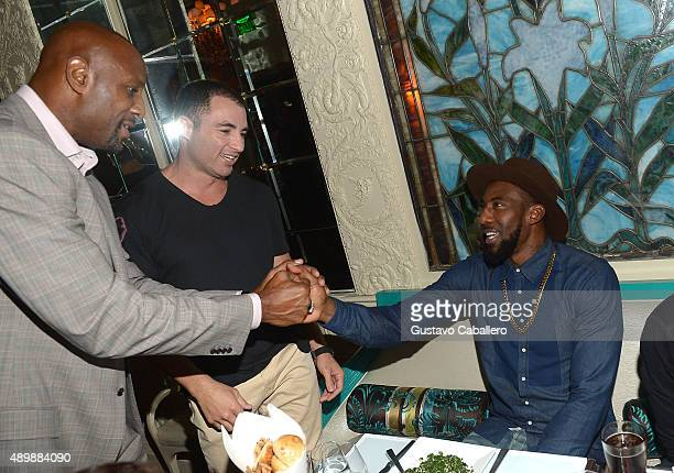 Alonzo Mourning Chris Paciello and basketball player Amar'e Stoudemire attend DuJour Magazine's Jason Binn The Forge's Shareef Malnik Welcome Amar'e...