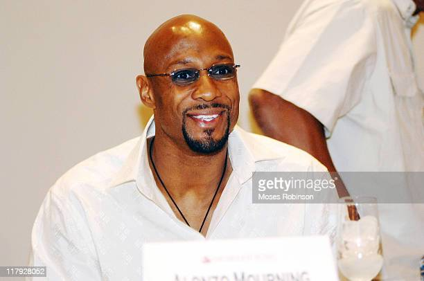 Alonzo Mourning during Spike Lee Hosts a Forum on the Black Athlete at Morehouse College at Morehouse College in Atlanta Georgia United States