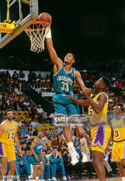 Alonzo Mourning of the Charlotte Hornets dunks the ball during the game against the Los Angeles Lakers on January 14 1994 at the Great Western Forum...