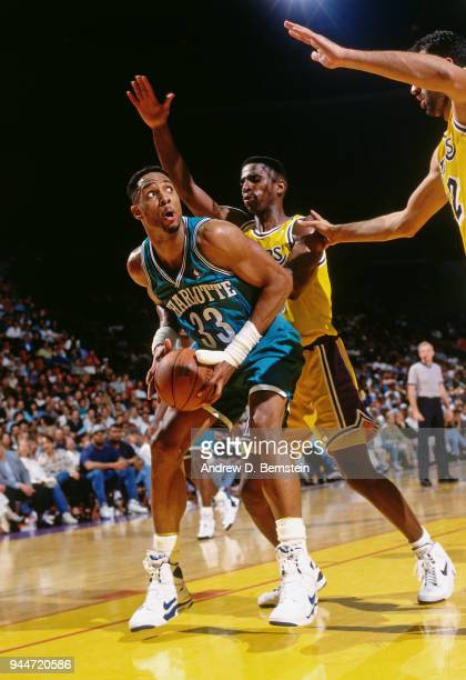Alonzo Mourning of the Charlotte Hornets handles the ball during the game against the Los Angeles Lakers on January 14 1994 at the Great Western...
