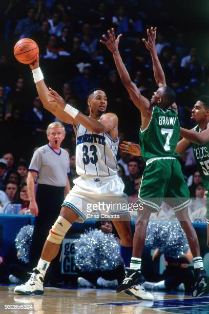 Alonzo Mourning of the Charlotte Hornets posts up on March 14 1994 at the Charlotte Coliseum in Charlotte North Carolina NOTE TO USER User expressly...