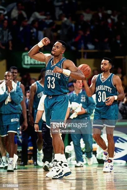 Alonzo Mourning of the Charlotte Hornets pumps his fist during a game against the Boston Celtics at the Boston Garden on November 12 1993 in Boston...