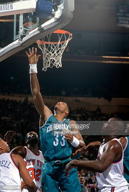 Alonzo Mourning of the Charlotte Hornets shoots against the New York Knicks during an NBA basketball game circa 1992 at Madison Square Garden in the...