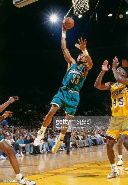 Alonzo Mourning of the Charlotte Hornets shoots the ball during the game against the Los Angeles Lakers on January 14 1994 at the Great Western Forum...