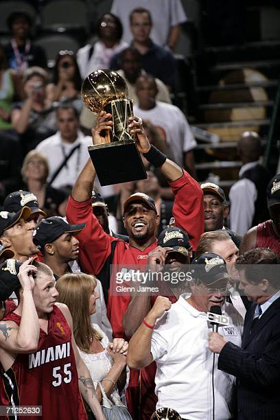 Alonzo Mourning of the Miami Heat celebrates winning the NBA Championship in Game Six of the 2006 NBA Finals on June 20 2006 at the American Airlines...