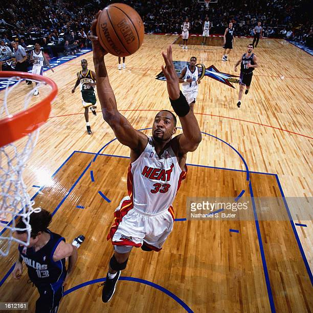 Alonzo Mourning of the Miami Heat drives to the basket for a dunk during the 2002 NBA All Star Game at the First Union Center in Philadelphia...