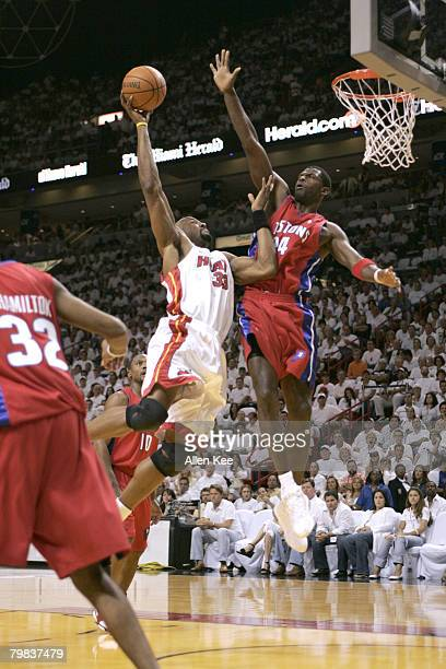 Alonzo Mourning of the Miami Heat in action against the Detroit Pistons in Game 7 of the Eastern Conference Finals at American Airlines Arena in...