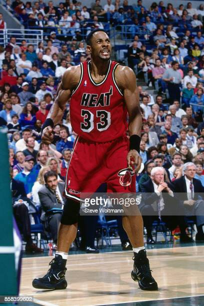 Alonzo Mourning of the Miami Heat reacts circa 1996 at the Bradley Center in Milwaukee Wisconsin NOTE TO USER User expressly acknowledges and agrees...