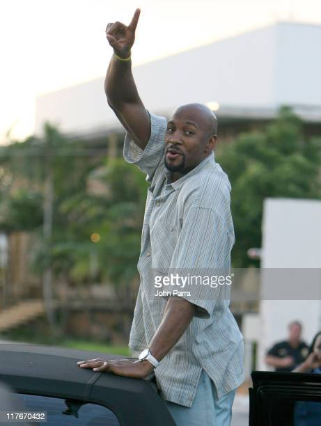 Alonzo Mourning of the NBA Champion Miami Heat arriving in Miami after winning the NBA Championship game the Heat beat the Dallas Mavericks 9592 in...