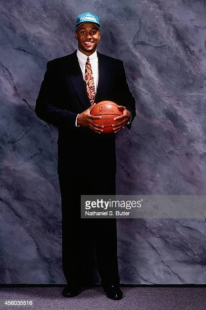Alonzo Mourning poses after being drafted number 2 overall by the Charlotte Hornets at the NBA Draft in Portland Oregon on June 24 1992 NOTE TO USER...