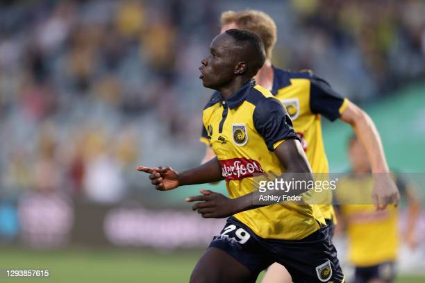 Alou Kuol of the Mariners celebrates his goal during the A-League match between the Central Coast Mariners and the Newcastle Jets at Central Coast...