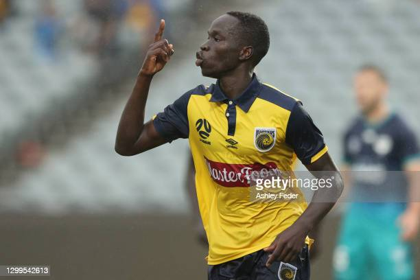 Alou Kuol of the Mariners celebrates his goal during the A-League match between the Central Coast Mariners and the Wellington Phoenix at Central...
