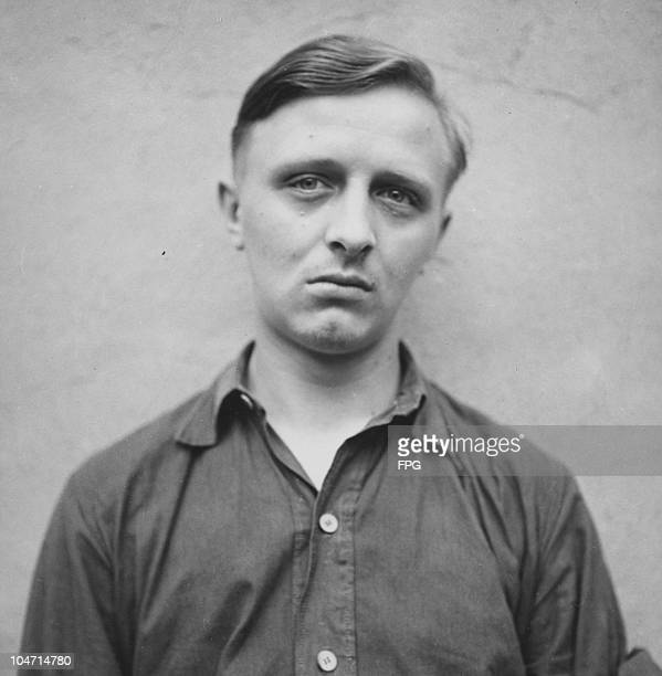 Aloys Gotzy, a guard at the Bergen-Belsen concentration camp, Germany, circa 1945. Charged with war crimes and crimes against humanity, Gotzy is...