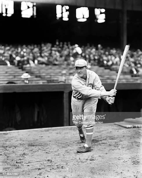 Aloysius H Simmons of the Philadelphia Athletics swinging a bat in 1928