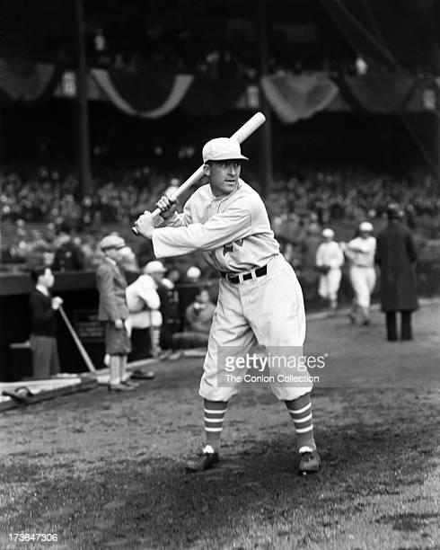 Aloysius H Simmons of the Philadelphia Athletics swinging a bat in 1930