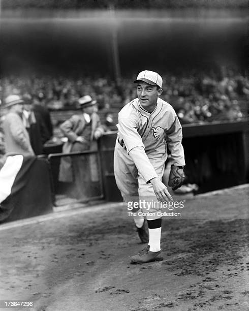 Aloysius H Simmons of the Philadelphia Athletics throwing a ball in 1927