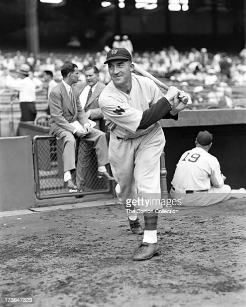 Aloysius H Simmons of the Washington Senators swinging a bat in 1937