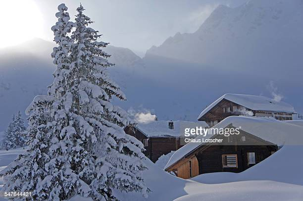 Alp houses in deep snow, Mürren