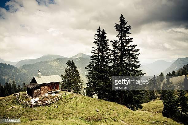 alp hut in the ammergauer alps, bavaria,- vintage filtered