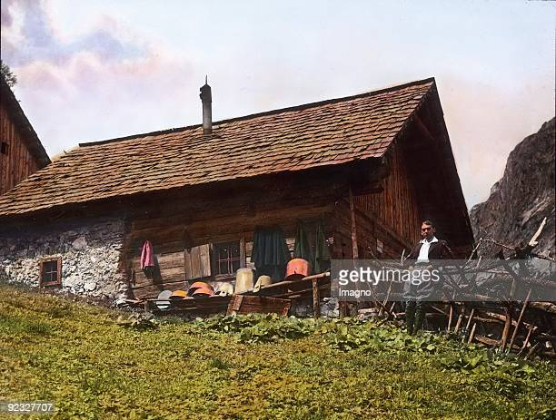 Alp hut on the Oetscher Lower Austria Handcolored lantern slide 1909