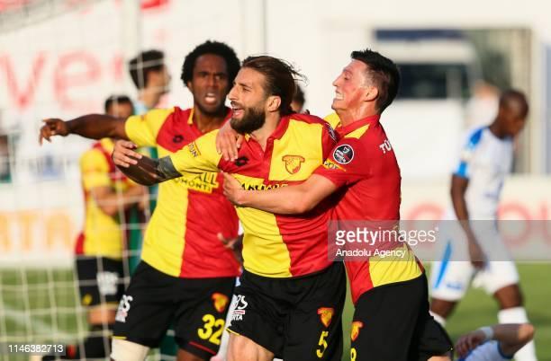 Alpaslan Ozturk of Goztepe celebrates after scoring a goal during Turkish Super Lig soccer match between Goztepe and MKE Ankaragucu at the Bornova...