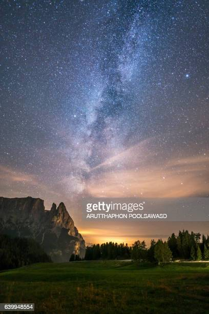 Alpe di siusi european alpine alps dolomites italy with milky way and star
