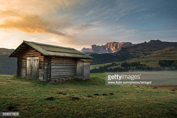 alpe di siusi - hut stock pictures, royalty-free photos & images