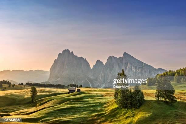 alpe di siusi sonnenaufgang mit langkofel oder langkofel berggruppe im hintergrund - österreich stock-fotos und bilder