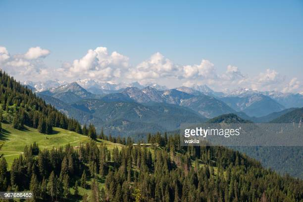 alpen panorama view from mountain wallberg near lake tegernsee - tegernsee stock pictures, royalty-free photos & images