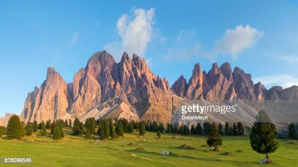 alpenglow at geislergruppe or gruppo delle odle, xxl panorama, dolomites, italy - dolomiti foto e immagini stock