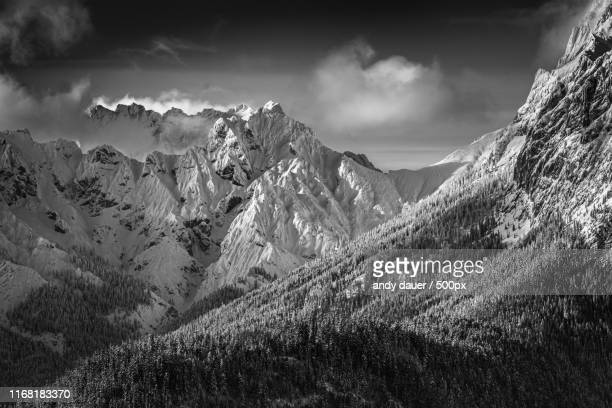 alpenglow bw - andy dauer stock photos and pictures