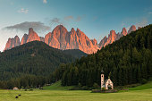 Alpenglow in Dolomites Alps - Val di Funes
