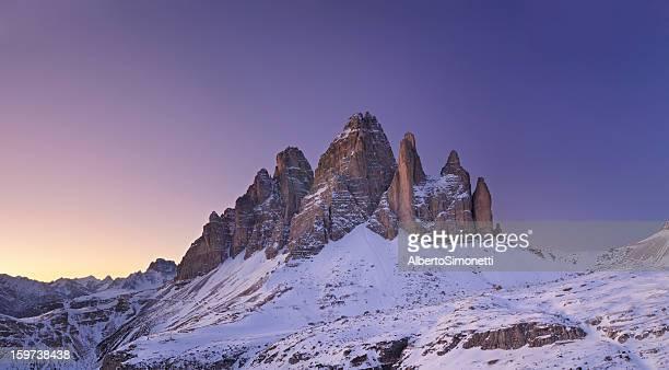Alpenglühen auf die Drei Zinnen (Dolomiten, Italien)