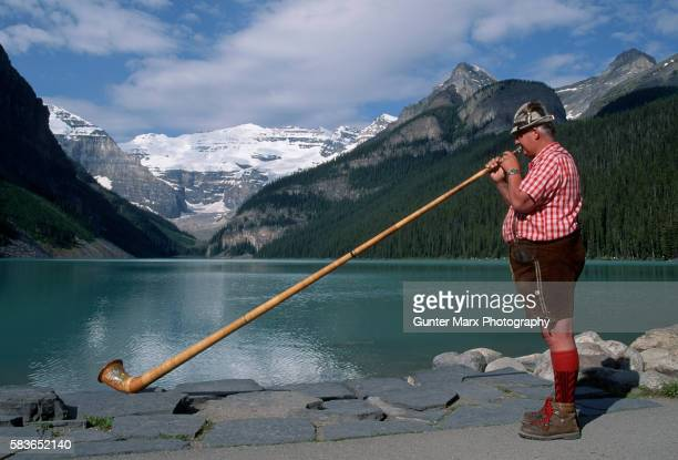 Alpenhorn Player at Lake Louise